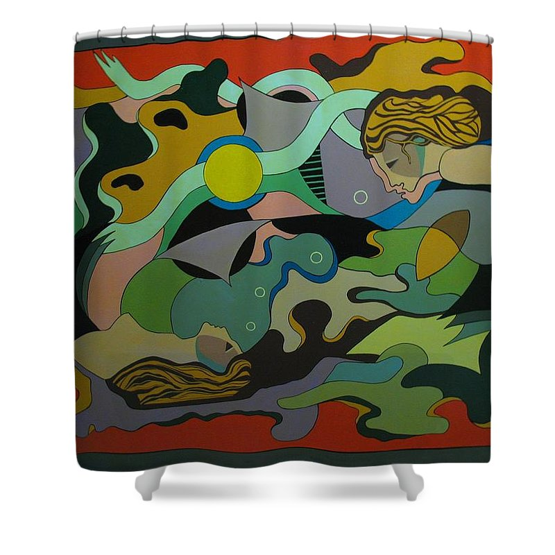 Abstract Shower Curtain featuring the painting Allegory-the Double Personality by Vasilis Bottas
