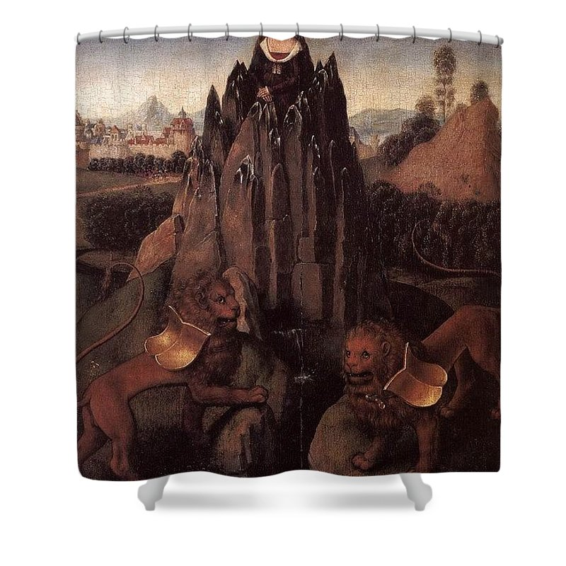 Cloak Shower Curtain featuring the digital art Allegory With A Virgin 1479 80 Hans Memling by Eloisa Mannion