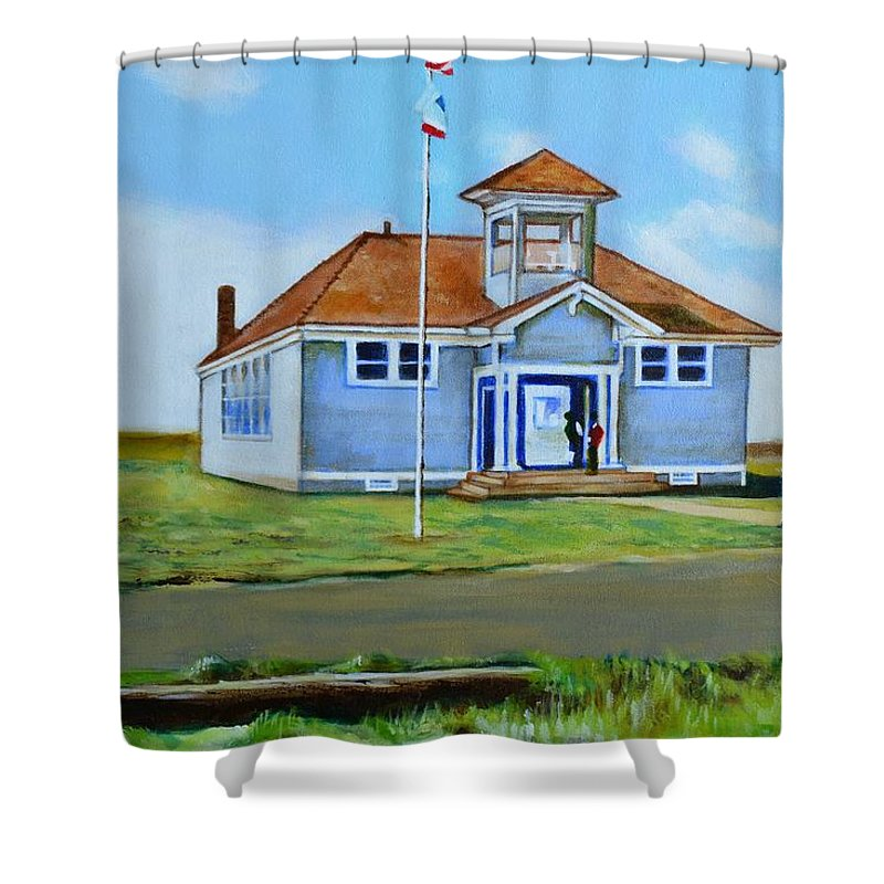 Buildings; School; Landscape; African American Community; Historical State Park; Shower Curtain featuring the painting Allensworth School by Howard Stroman