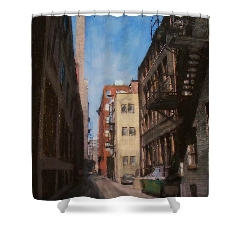 Alley Shower Curtain featuring the mixed media Alley 3rd Ward by Anita Burgermeister