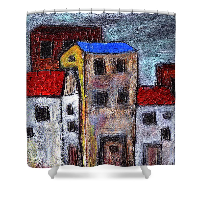 City Scene Shower Curtain featuring the painting Alley Doors by Wayne Potrafka