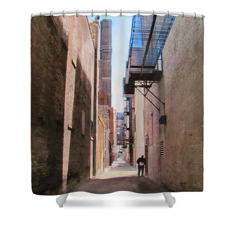 Alley Shower Curtain featuring the mixed media Alley W Guy Reading by Anita Burgermeister