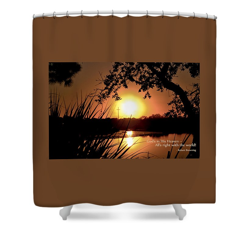 Typography Shower Curtain featuring the photograph All's Right by Jan Herren
