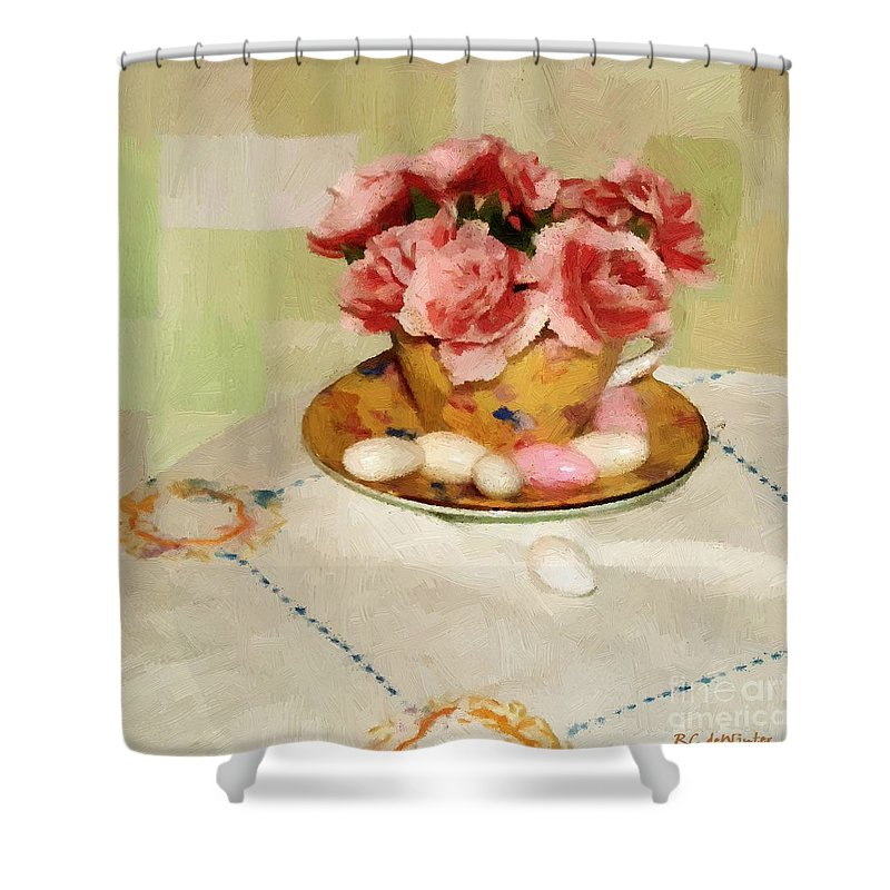 Almonds Shower Curtain featuring the painting Almond Blossom Tea by RC DeWinter