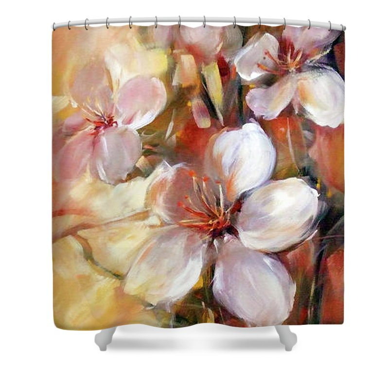 Outdoor Shower Curtain featuring the painting Almonds Blossom 9 by Roman Ben