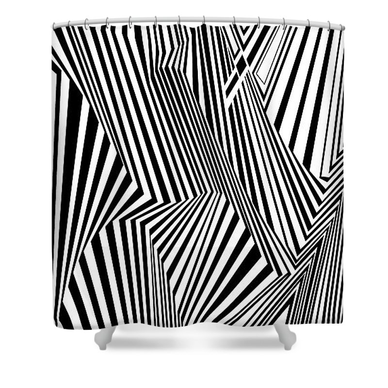 Dynamic Black And White Shower Curtain featuring the painting Almost Like Believing by Douglas Christian Larsen