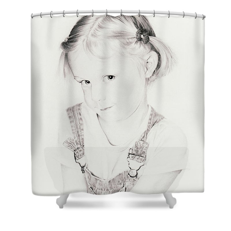 Portrait Shower Curtain featuring the drawing Almost Perfect by Rachel Christine Nowicki