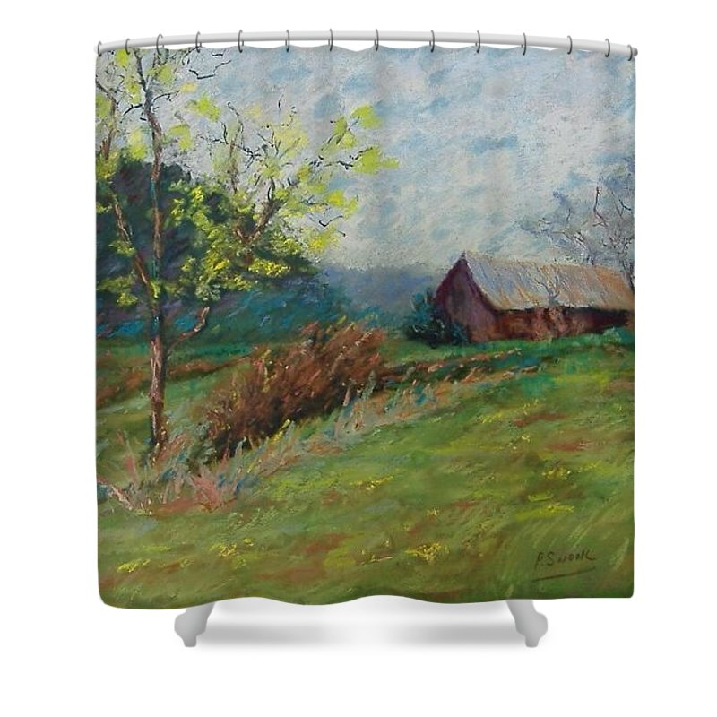 Landscape Shower Curtain featuring the pastel Almost Spring by Pat Snook