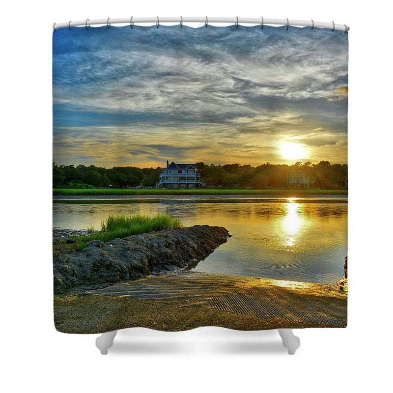 Inlet Shower Curtain featuring the photograph Almost Sunset In Pawleys Island by TJ Baccari