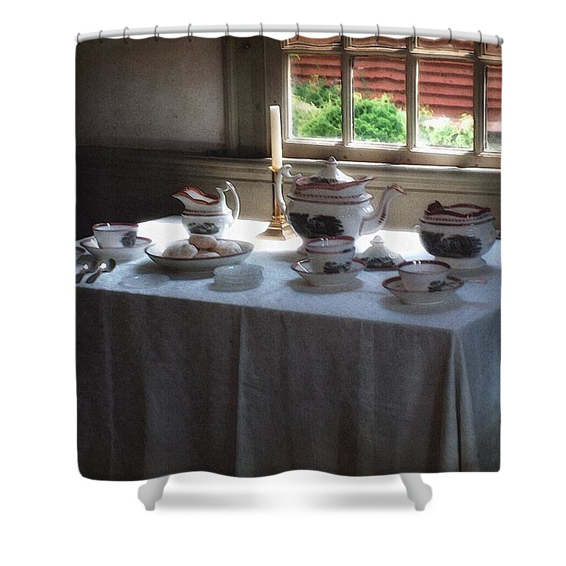 Americana Shower Curtain featuring the painting Almost Tea Time by RC DeWinter