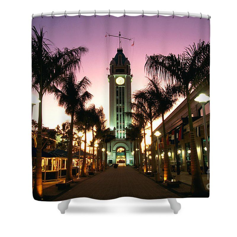 Aloha Shower Curtain featuring the photograph Aloha Tower Marketplace by Bob Abraham - Printscapes