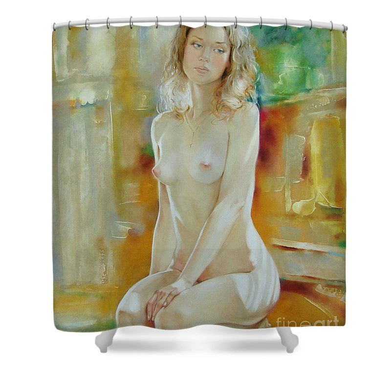 Art Shower Curtain featuring the painting Alone At Home by Sergey Ignatenko