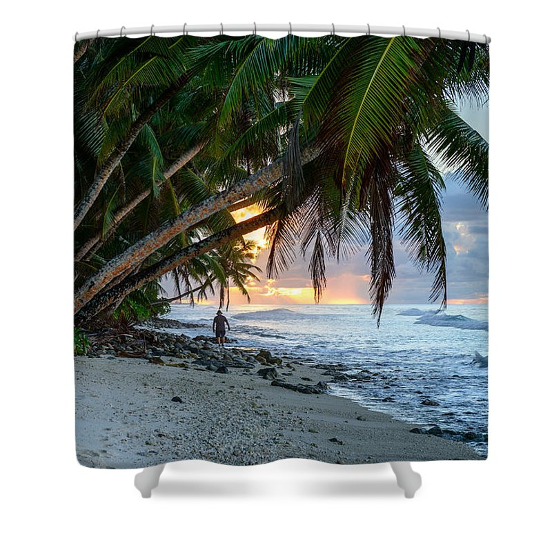 Blue Shower Curtain featuring the photograph Alone On The Beach 2 by Michael Scott