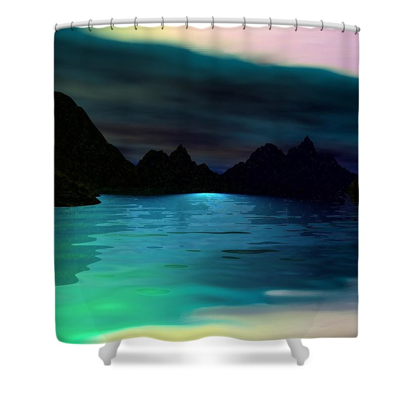 Seascape Shower Curtain featuring the digital art Alone On The Beach by David Lane