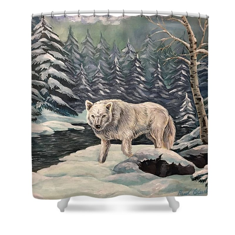 Lone Wolf In The Winter Forest. After Snow Storm. Shower Curtain featuring the painting Alone by Paul Glushku