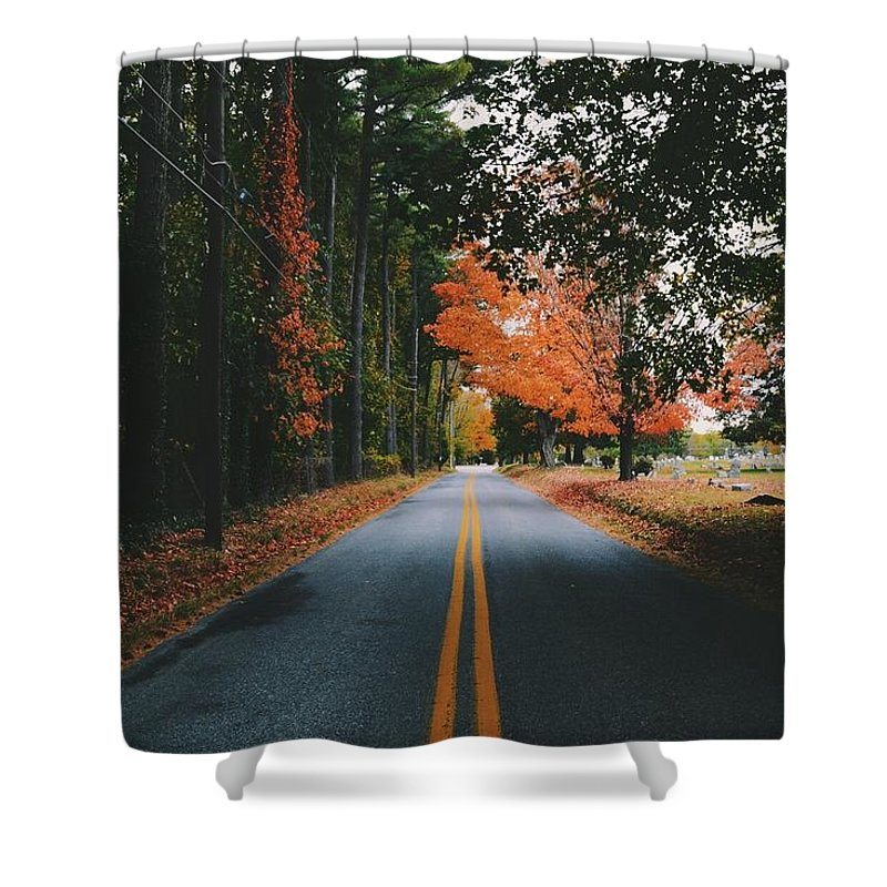Fall Shower Curtain Featuring The Photograph Alone Rode By Ronaldo Marcelo
