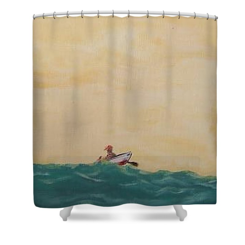 Skiff Shower Curtain featuring the painting Alone by Todd Artist