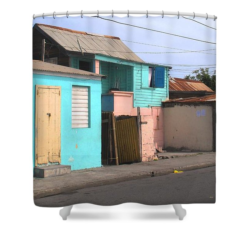 St Kitts Shower Curtain featuring the photograph Along Bay Road by Ian MacDonald