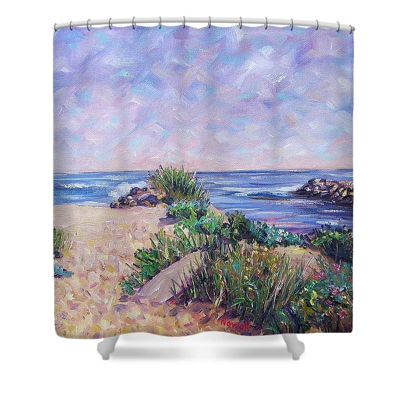 Shore Shower Curtain featuring the painting Along The Breachway Rhode Island by Richard Nowak