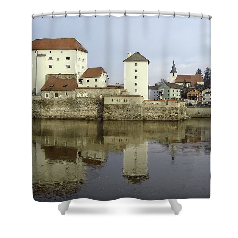 River Shower Curtain featuring the photograph Along The Danube by Mary Rogers