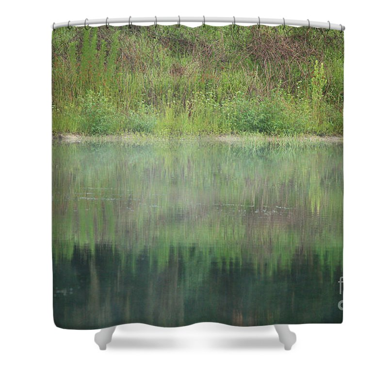 Nature Abstract Shower Curtain featuring the photograph Along The Edge Of The Pond by Carol Groenen