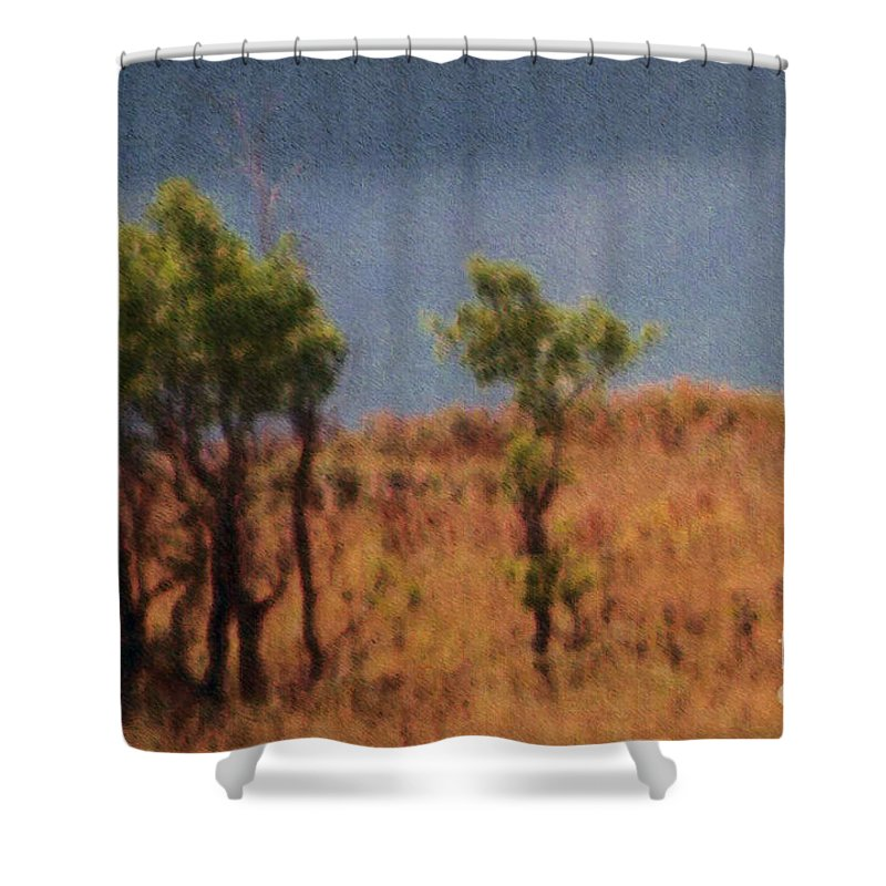Field Shower Curtain featuring the digital art Along The Lake by Richard Rizzo