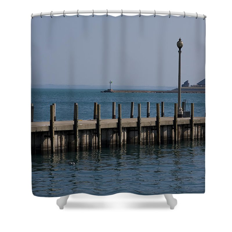Chicago Windy City Lake Michigan Pier Water Sky Blue Shower Curtain featuring the photograph Along The Lakeshore by Andrei Shliakhau