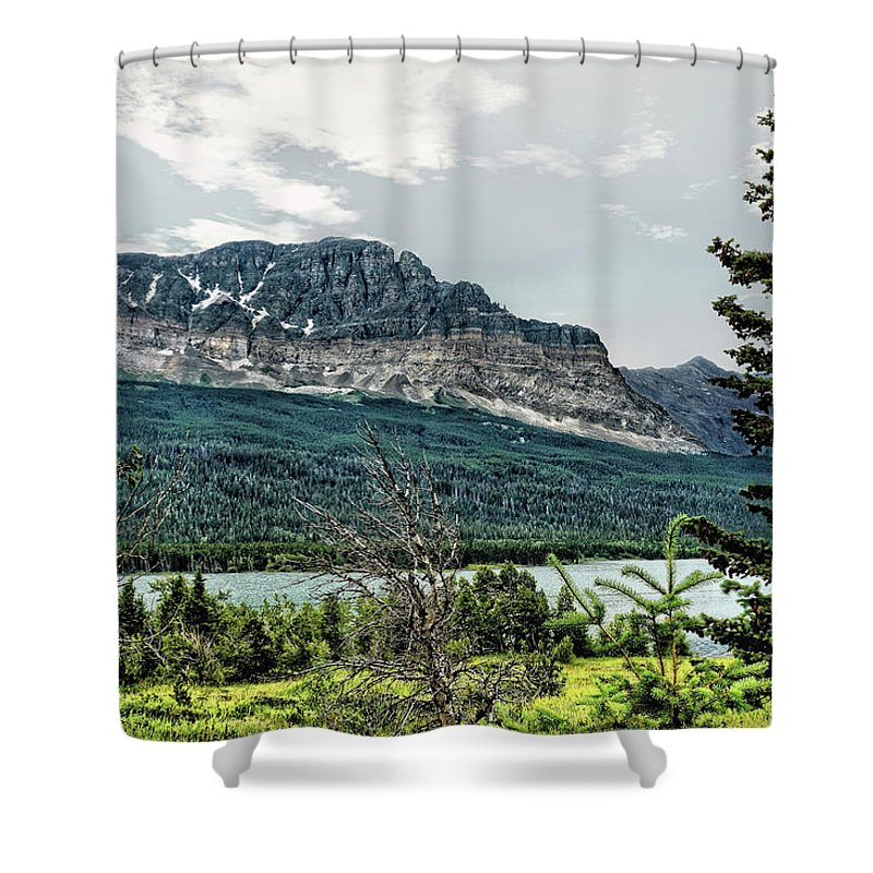 Mountains Shower Curtain featuring the photograph Along The Road To Many Glacier 4 by John Trommer