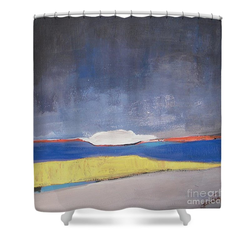 Abstract Landscape Shower Curtain featuring the painting Along The Shoreline by Vesna Antic