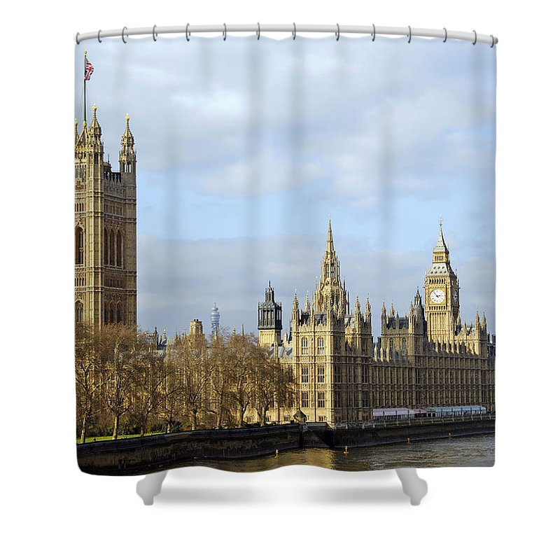 London Shower Curtain featuring the photograph Along The Thames by Stephen Anderson
