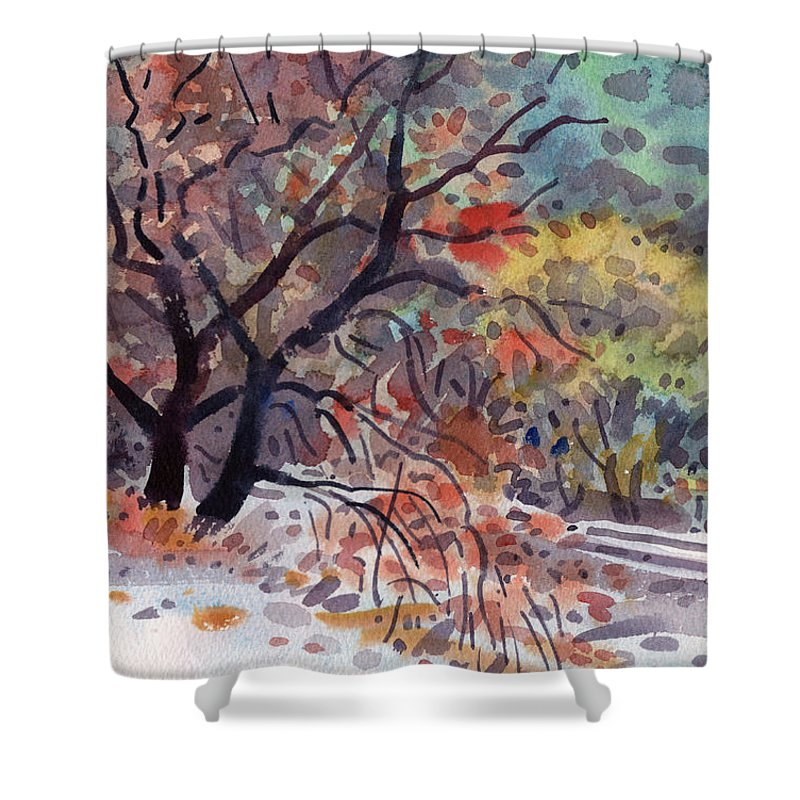 Oak Tree Shower Curtain featuring the painting Along the Tracks by Donald Maier