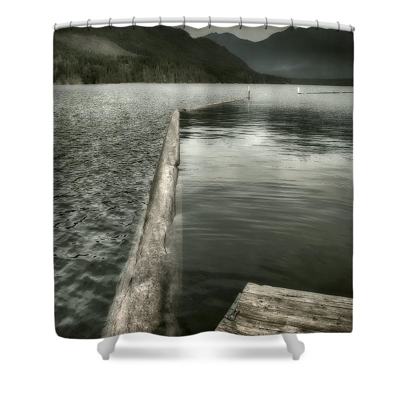 Washington Shower Curtain featuring the photograph Along The Washington Coast - Dock, Breakwater, And Mountains by Mitch Spence