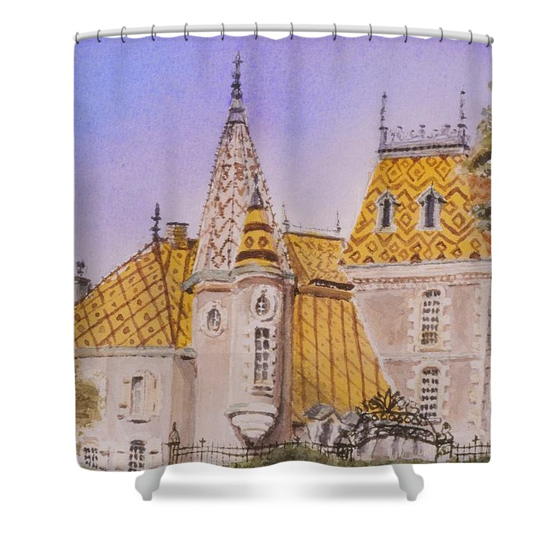 Vineyard Shower Curtain featuring the painting Aloxe Corton Chateau Jaune by Mary Ellen Mueller Legault