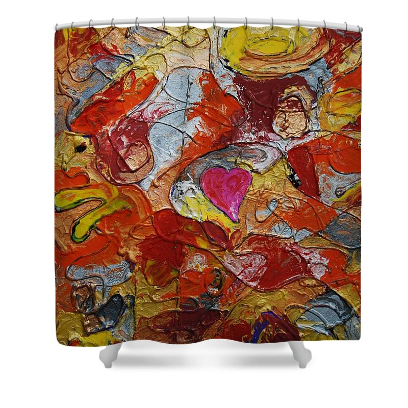 Abstract Shower Curtain featuring the painting Alpha Omega 2 by Erika Avery