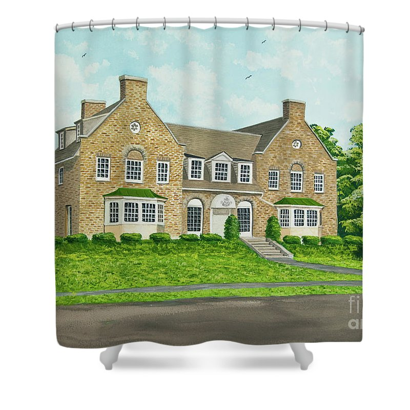 Colgate University Fraternity House Shower Curtain featuring the painting Alpha Tau Omega by Charlotte Blanchard