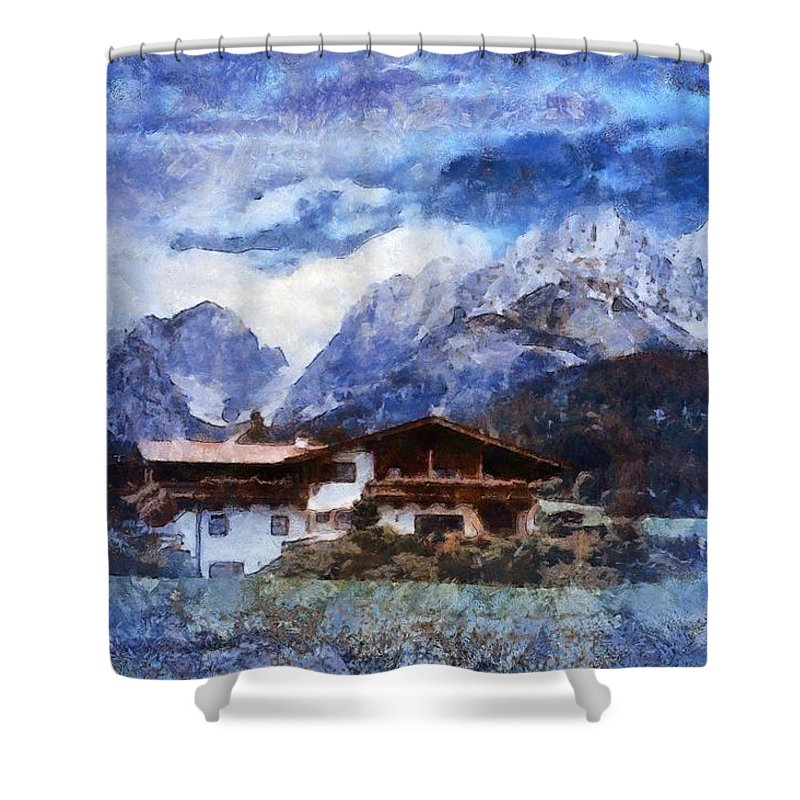 Swiss Alps Shower Curtain featuring the photograph Alpine Bliss by Mario Carini