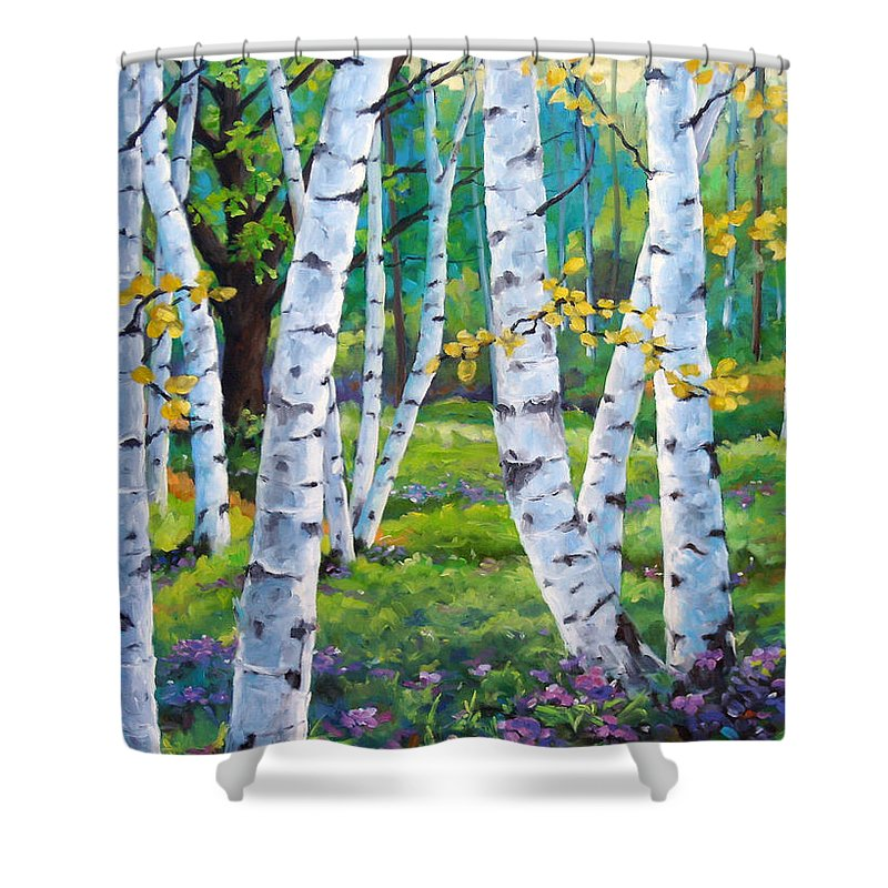Birche; Birches; Tree; Trees; Nature; Landscape; Landscapes Scenic; Richard T. Pranke; Canadian Artist Painter Shower Curtain featuring the painting Alpine Flowers And Birches by Richard T Pranke