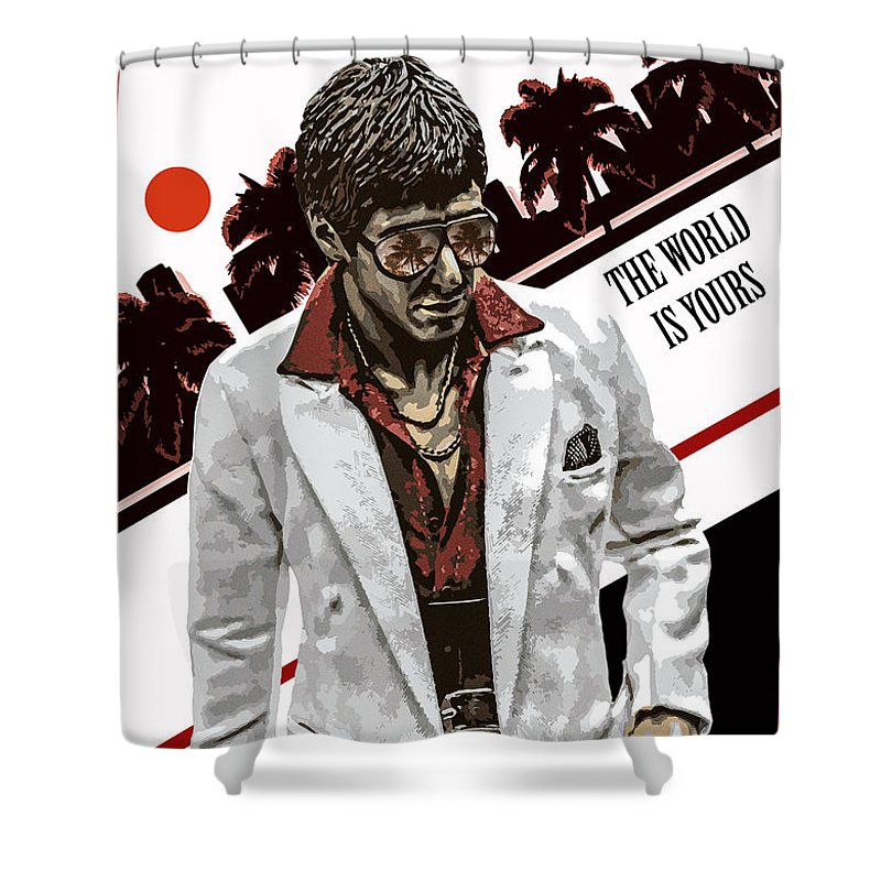 Scarface Shower Curtain Featuring The Photograph Alternative Poster By David Djanbaz