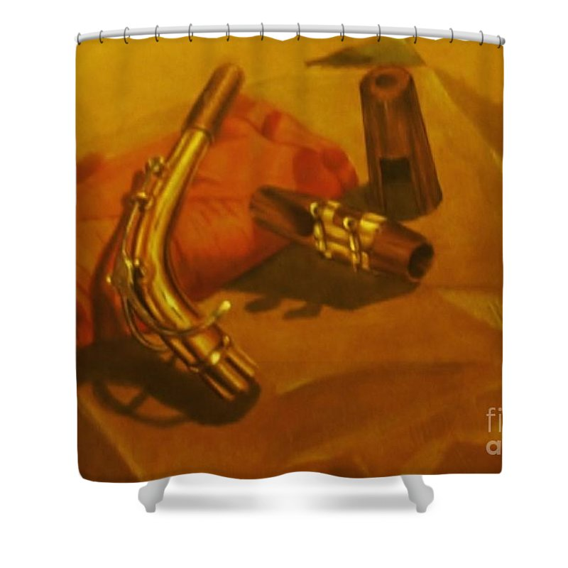 Still Life Shower Curtain featuring the drawing Alto Saxophone Neck And Mouthpiece by Jamey Balester