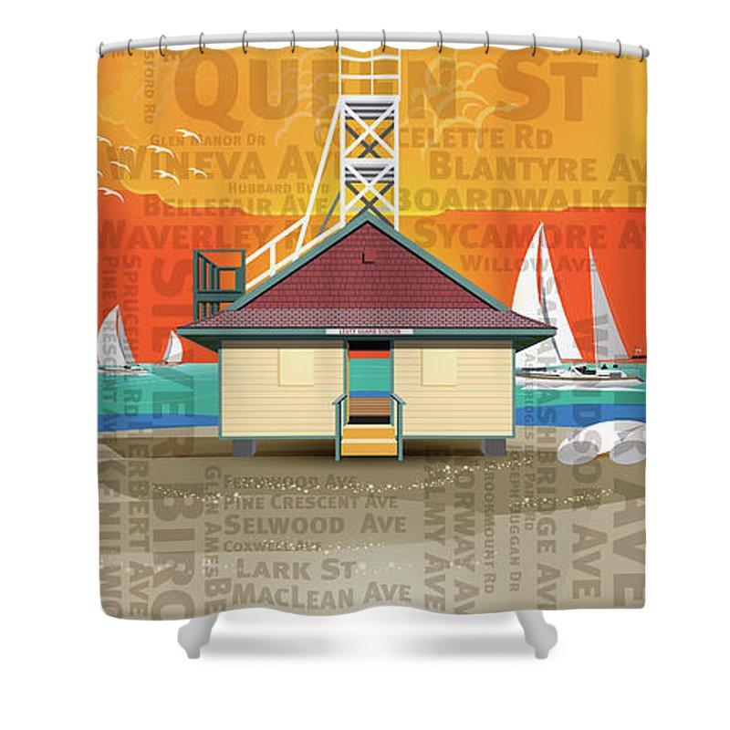 Toronto Shower Curtain featuring the digital art Always A Beacher by David Loblaw