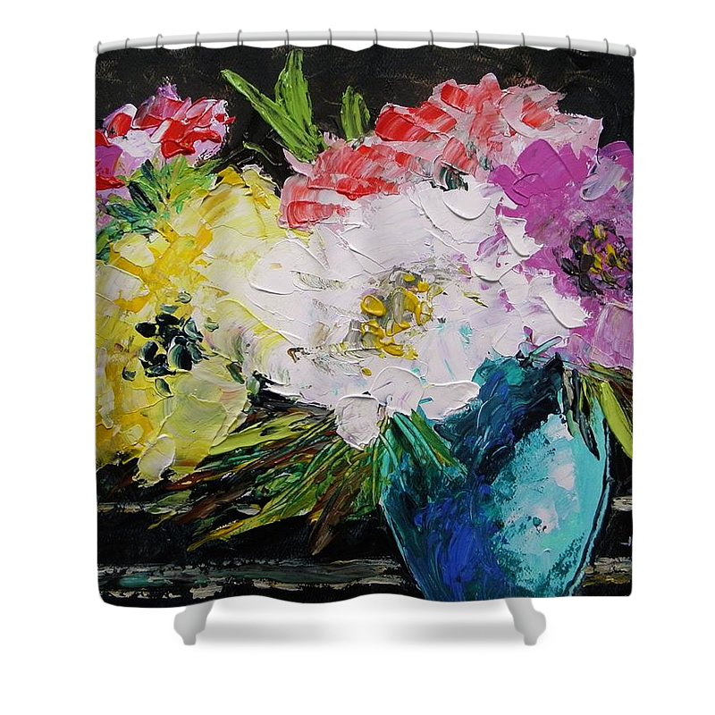 Flowers Shower Curtain featuring the painting Always Nice To Come Home To by John Williams
