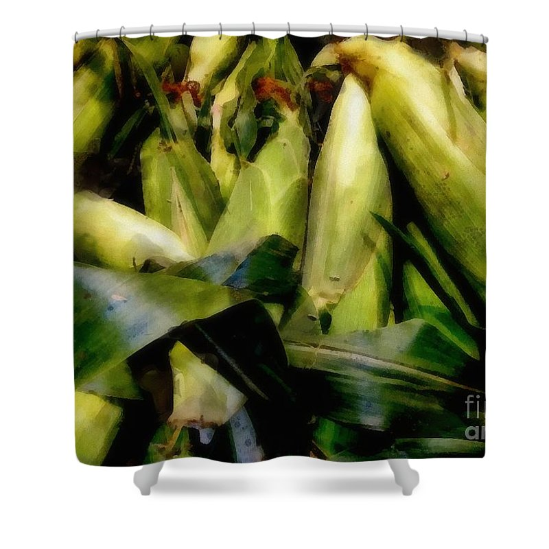 Cob Shower Curtain featuring the painting Amaizeing by RC DeWinter