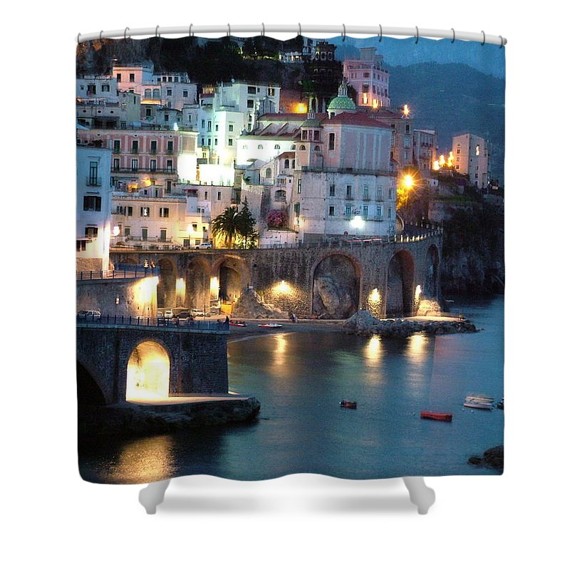 Horizontal Shower Curtain featuring the photograph Amalfi Coast At Night by Donna Corless