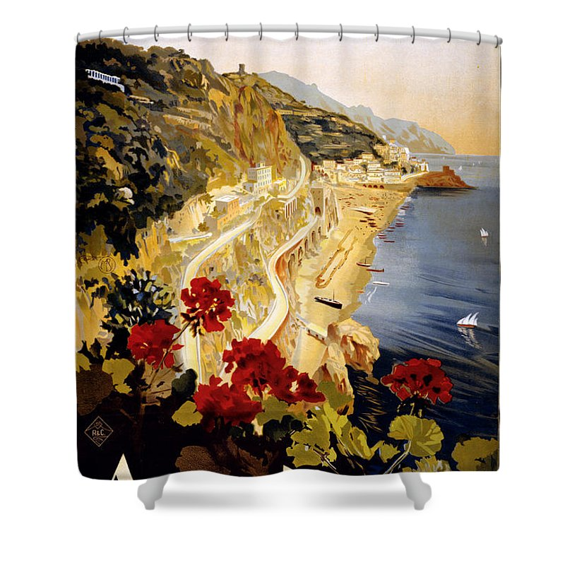 Nostalgic Shower Curtain featuring the painting Amalfi by Nostalgic Prints