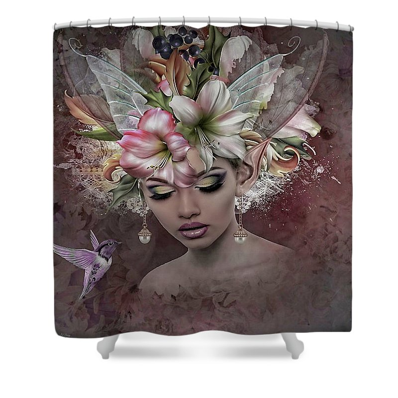 Amaryllis Shower Curtain featuring the mixed media Amaryllis Elf by G Berry