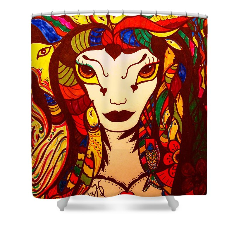 Fantasy Shower Curtain featuring the painting Amazon Queen by Natalie Holland
