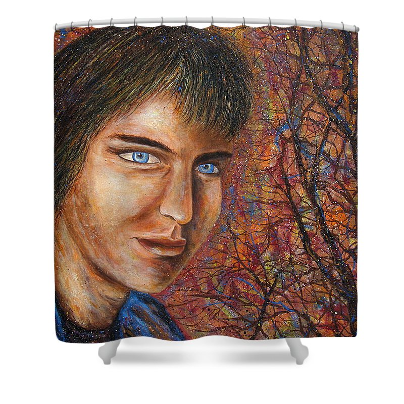 Colorful Autumn Shower Curtain featuring the painting Amber Glow by Natalie Holland