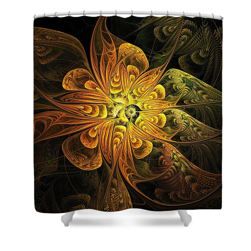 Digital Art Shower Curtain featuring the digital art Amber Light by Amanda Moore
