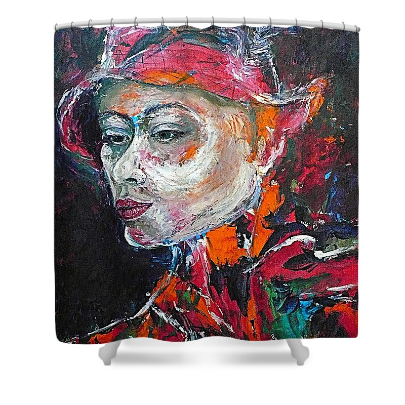 Portrait Shower Curtain featuring the painting Ambiguity by Ericka Herazo