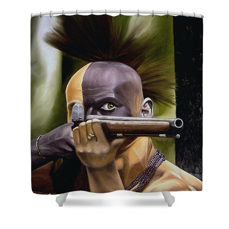 Indian Shower Curtain featuring the painting Ambush by Marc Stewart